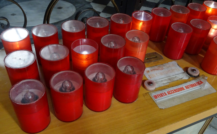 Electric Candles Donations in a Church (Rome, Italy)