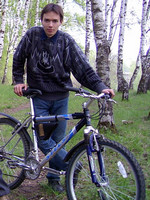2003.05.15 Having a bicycle ride in a birch forest