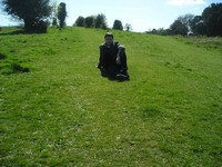 2014.04.09 Great Britain. Sitting on bright grass of an English hill and pasture