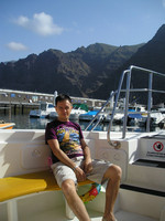 2016.05.22 On a pleasure yacht in the harbor near Los Gigantes rocks of the Tenerife island