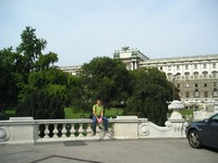 2016.09.16 Vienna, the Castle Garden (Burggarten) and the Hofburg Palace behind it, the is a winter residence of Austrian House of Habsburg and the major residence of the the imperial court