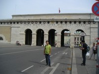 "2016.09.16 Vienna, the entrance to the Heroes' Square (Heldenplatz) with the label ""Franz I, the Emperor of Austria, 1824"" (Franciscus I. Imperator Austriae MDCCCXXIV)"