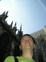 2016.09.16 Vienna, the gothic Votive Church (Votivkirche) which spires are white and sides are black just like they are burned