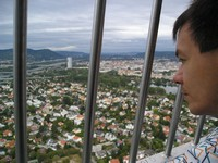 2016.09.18 Looking through the metal grate of the Danube Tower (Donauturm) at residential areas of Vienna