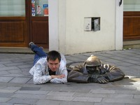 "2016.09.19 A monument to a plumber in Bratislava is called ""Idler"" (Čumil), and the best way to take a picture with it is lying – thanks to the clear sidewalk!.."