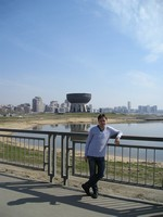 2017.04.29 In Kazan (Tatarstan, Russia) with the Kazanka river and the Family Center shaped as a giant kazan (cauldron) in the background