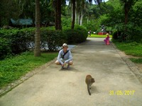 2017.05.31 A rhesus macaque, me and a Chinese girl