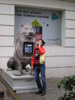 "2017.10.01 The ""King of Jungle"" supposedly protects the public telephone in Istanbul (Turkey) against vandals"