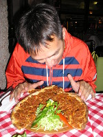 "2017.10.01 Eager to eat the tasty ""Turkish pizza"" called lahmajoun in the Turkish Istanbul"