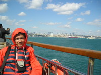 2017.10.02 On an open top deck of a ferry from the Asian part of Istanbul (Turkey) back to its European it is quite windy