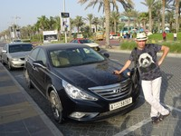"2018.06.01 This Hyundai Sonata helped us to learn places of interest and travel through the United Arab Emirates (""UAE"" on its state number)."