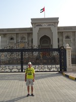 "2018.06.04 With H. H. Ruler's Office in the background; the ruler of the Sharjah emirate is also called ""emir""."