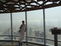 2018.06.05 And the last panoramic view from Burj Khalifa with me leaning not on the glass (it is scary), but on the beam between.