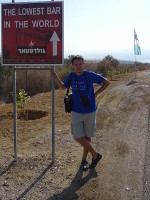"2018.09.07 Next to the Dead Sea (it is behind me) there is ""the lowest bar in the world"""