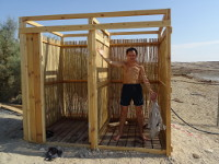 "2018.09.07 What we thought was a ""Jewish"" dressing room (without doors!) on the shore of the Dead Sea turned out to be a future shower :-)"