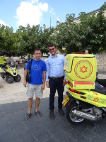 "2018.09.07 The jerusalemite I thought was a police officer turned out to be a representative of the Israel's national emergency medical, disaster, ambulance and blood bank service ""Magen David Adom"""