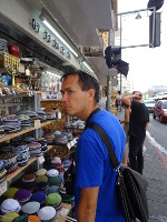 2018.09.07 The main headdress of male Jews (who are not hasids) – kippah, also know as yarmulke – is sold in Jerusalem in a variety of colors and materials