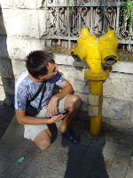 "2018.09.08 Fire hydrants in Jerusalem are also not typical – yellow, not red, like everyone else; this one has sad ""eyes"""