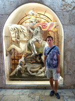 2018.09.08 In one of the galleries of the Basilica of the Nativity in Bethlehem you can find full-size Saint George killing the dragon