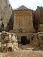 2018.09.09 The Tomb of Zechariah in the Kidron Valley near the Mount of Olives in Jerusalem is completely carved out of the solid rock and resembles the tombs of Egyptian pharaohs