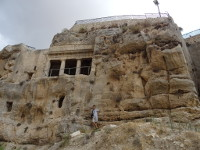 2018.09.09 Tomb of Benei Hezir is the oldest of the 4 giant tombs in the Kidron Valley near the Mount of Olives in Jerusalem, and resembles a Greek temple