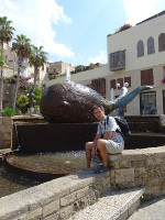 "2018.09.10 The ""Whale"" fountain in the Old Jaffa (Tel Aviv), of course, is filled with coins thrown into it ""for good luck"""