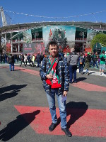 "2019.04.28 With the ""RZD Arena"" – the home stadium of the ""Lokomotiv"" football club."