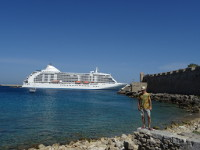 2019.06.01 Me and an ocean liner in the Port of Rhodes.