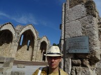 2019.06.01 With a plaque reminding me that I'm at the Church of the Virgin of the Burgh in the city of Rhodes.