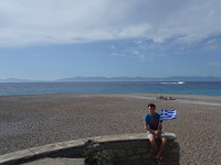 2019.06.02 With the Greek flag at the Northern end of the Rhodes island where the Aegean (at the left) and Mediterranean (at the right) seas meet.