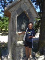 2019.06.05 At the stone shrine #1 with the bronze engraving of the Station #1 (Jesus is condemned to death) on the Way of the Cross, or rather its copy on the Filerimos hill.