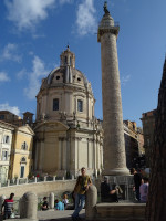 2019.10.03 Against the background of the Church of the Holy Name of Mary (at the left) and Trajan's Column (at the right).