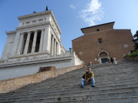 2019.10.03 Sitting at a side of the Vittoriano on the steep stairs leading to the Basilica of Saint Mary of the Altar of Heaven (Basilica di Santa Maria in Ara coeli).