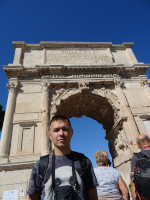 "2019.10.04 Under the Arch of Titus with the famous emblematic phrase ""The Senate and People of Rome"" (Senatus Populusque Romanus, SPQR)."