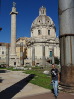 2019.10.04 A view from Trajan's Forum (Forum Traiani, 112 AD) to his column (Colvmna Traiani, 113 AD) and the Church of the Holy Name of Mary (Ss. Nominis Mariae ad Forum Traiani, 1736-1751).