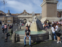 2019.10.04 Sitting on 1 of the 4 bowls of the Obelisk Fountain (Fontana dell'Obelisco) in the center of People's Square (Piazza del Popolo) in Rome.