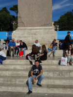 2019.10.04 At the base of the (Egyptian) Flaminio Obelisk in the center of People's Square (Piazza del Popolo) in Rome, among Italians and tourists.
