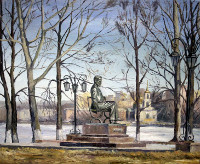 Chaikovsky's Monument in Votkinsk, Udmurtia, Russia  (canvas of 60 x 50 cm, oil painting; year of 2015)