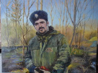 Cossack's Portrait in Front of Landscape  (canvas of 60 x 50 cm, oil painting; year of 2015)