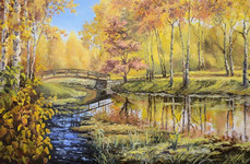 River in Autumn Forest  (canvas of 50 x 40 cm, oil painting; year of 2015)