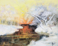 River in Winter Forest  (canvas of 50 x 40 cm, oil painting; year of 2015)