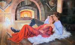 Romanticism at Fireplace  (wall of 200 x 120 cm, oil painting; year of 2015)