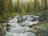 Tumultuous River  (canvas of 60 x 50 cm, oil painting; year of 2015)
