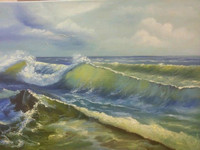 Wave  (canvas of 60 x 50 cm, oil painting; year of 2015)