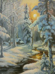 Winter Forest  (canvas of 40 x 50 cm, oil painting; year of 2015)