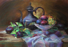 Eastern Still-Life  (paper, pastel crayons)