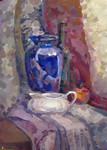 Still-Life with a Blue Pitcher  (paper, tempera, acrylic)